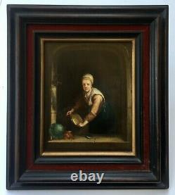 Tableau ancien, Huile sur panneau dans le goût hollandais, Encadré, XIXe