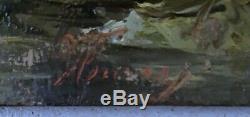 Tableau ancien Huile sur panneau signature illisible Ecole de Barbizon