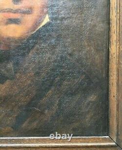 Tableau ancien, Huile sur papier, Homme au chapeau, Portrait, Encadré, XIXe