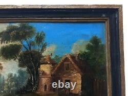 Tableau ancien, Huile sur papier, Paysage animé, Pigeonnier, XIXe ou avant