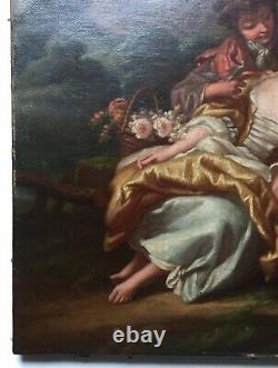 Tableau ancien, Huile sur papier, Scène galante pastorale, Couple, Moutons, XIXe