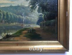 Tableau ancien, Huile sur toile, Bateau à vapeur, Paysage, Rivière, XIXe