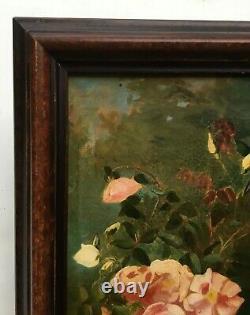 Tableau ancien, Huile sur toile, Bouquet de roses, Fin XIXe Début XXe