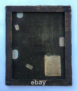 Tableau ancien, Huile sur toile, Couple d'amoureux, XIXe