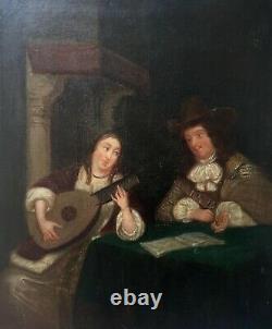 Tableau ancien, Huile sur toile, Couple de musiciens dans un intérieur, XIXe