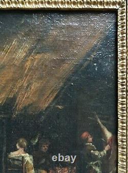 Tableau ancien, Huile sur toile, Dépeçage du cochon, Encadré, Ecole du XVIIe