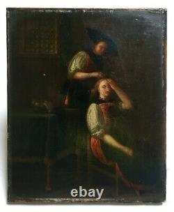Tableau ancien, Huile sur toile, Ecole de Nord, Femme se coiffant, XIXe ou avant