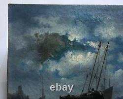 Tableau ancien, Huile sur toile, Ecole hollandaise, Marine, Bateaux, Milieu XIXe