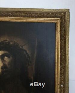 Tableau ancien, Huile sur toile, Encadré, Portrait de Christ, XIXe