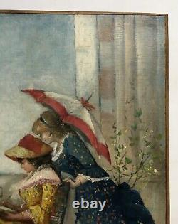 Tableau ancien, Huile sur toile, Femmes à l'aquarelle en bord de mer, XIXe