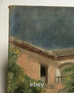Tableau ancien, Huile sur toile, Femmes à la fontaine, Début XXe