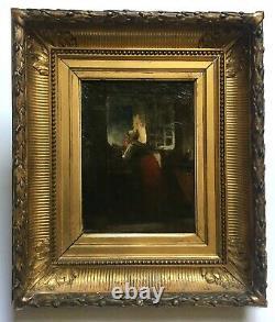 Tableau ancien, Huile sur toile, Jeune femme à la fenêtre, Cadre d'époque, XIXe