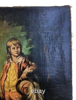 Tableau ancien, Huile sur toile, Jeune garçon en costume, XIXe