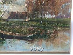 Tableau ancien, Huile sur toile, Monogramme, Paysage style Barbizon, Fin XIXe