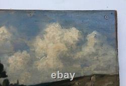Tableau ancien, Huile sur toile, Paysage, Campagne, Vaches au pré, XIXe