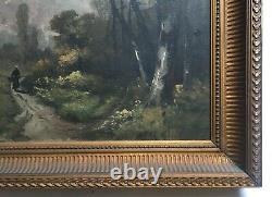 Tableau ancien, Huile sur toile, Paysage animé, Encadré, Fin XIXe