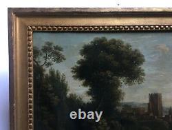 Tableau ancien, Huile sur toile, Paysage animé, Encadré, XVIIIe