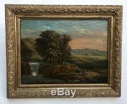Tableau ancien, Huile sur toile, Paysage avec cascade, Encadré, XIXe