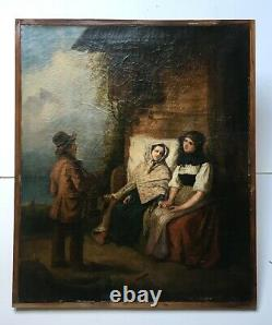 Tableau ancien, Huile sur toile, Personnages, Conversation, A restaurer, XIXe