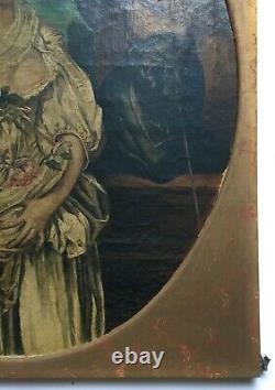 Tableau ancien, Huile sur toile, Portrait, Jeune femme, La cruche cassée, XIXe