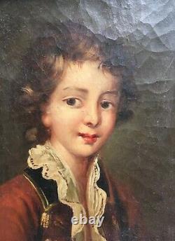 Tableau ancien, Huile sur toile, Portrait de jeune garçon en costume, XIXe