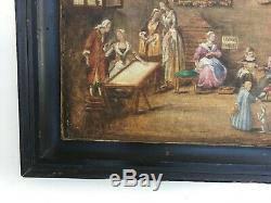 Tableau ancien, Huile sur toile, Scène d'intérieur, Encadré, XIXe