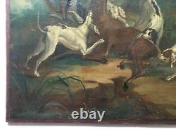 Tableau ancien, Huile sur toile, Scène de chasse, Cerf, Chiens, XIXe ou avant