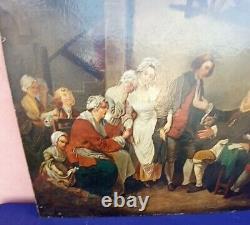 Tableau ancien, Huile sur toile, Scène l'accordée du village d'après Greuze XIXe