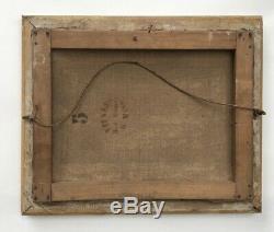 Tableau ancien, Huile sur toile, Vaches à l'étable, cadre doré, XIXe