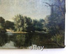 Tableau ancien, Huile sur toile à restaurer, Paysage, Bord de rivière, Fin XIXe