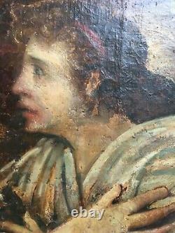 Tableau ancien, Huile sur toile marouflée sur carton, Ange, XIXe ou avant
