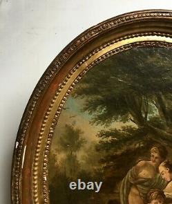 Tableau ancien, Huile sur toile marouflée sur carton, Baigneuses, XIXe ou avant