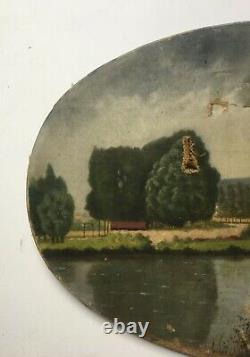 Tableau ancien, Huile sur toile ovale, Paysage lacustre, Berges, Début XXe