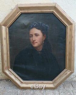 Tableau ancien Huile sur toile paire de portrait XIXème