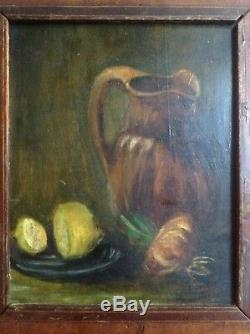 Tableau ancien Impressionniste Nature morte manière Van GOGH Huile sur bois