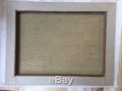 Tableau ancien Le petit pont signé Pierre Bonin huile sur toile XXéme