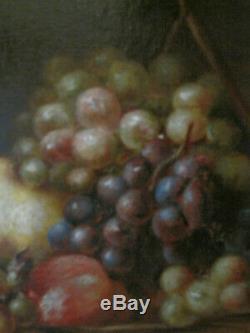 Tableau ancien Nature Morte ancienne Fruits Huile sur Toile début XXe