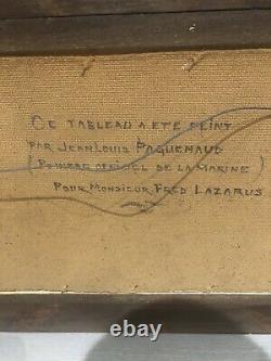 Tableau ancien Nu Féminin Jean Louis PAGUENAUD BORD DE MER HUILE SUR PANNEAU