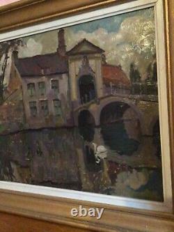 Tableau ancien Peinture huile sur bois représentant pont Saint Boniface à Bruges