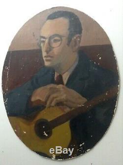 Tableau ancien Portrait Homme à la Guitare Huile sur carton à restaurer