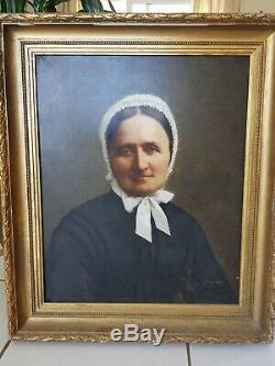 Tableau ancien, Portrait de femme, huile sur toile XIX ème s