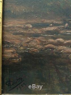 Tableau ancien Post Impressionniste Paysage Matin sur la Rivière Huile signée