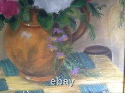 Tableau ancien Post-impressionniste Bouquet de Roses Huile sur toile c1945