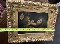 Tableau ancien VANITÉ Marie Madeleine Repentente XVIIe peinture sur cuivre