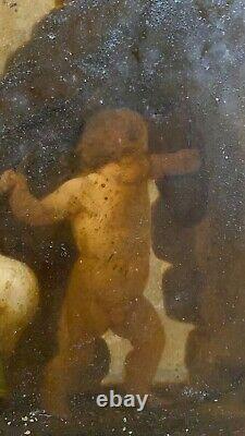 Tableau ancien Vénus Et Cupidon Huile Sur Plaque de Métal