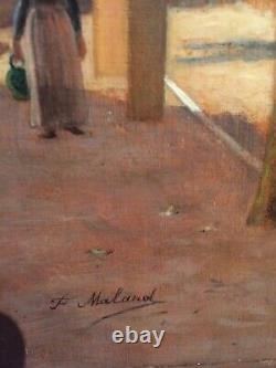 Tableau ancien XIX eme de felix Malard huile sur panneau signé