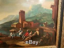 Tableau ancien, XIX ème s, anse portuaire animée huile sur panneau
