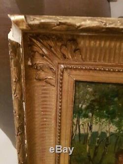 Tableau ancien XIX ème s, femme au fagot huile sur panneau cadre doré