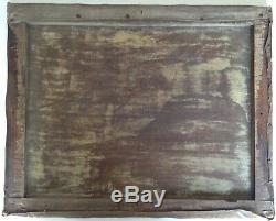 Tableau ancien XIXe Barbizon Paysage animé à la barque Huile sur toile