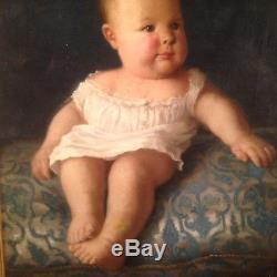 Tableau ancien XIXe LAZARE MEYER (1847-1934)  Portrait Enfant Huile sur toile